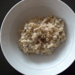 Mushroom risotto is surprisingly easy to make. It just takes a bit of stirring.