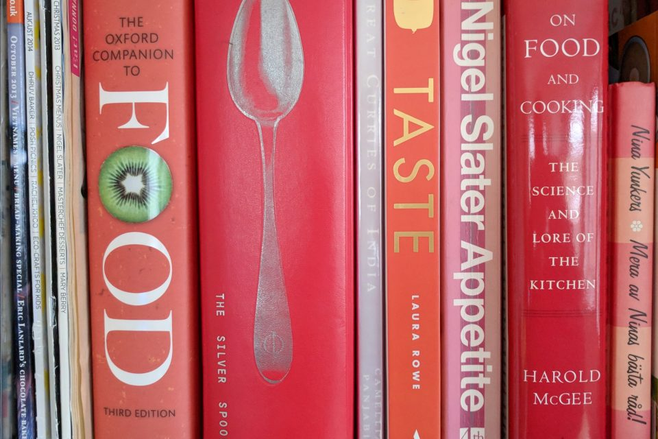 Bookshelf with cookbooks